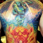 Heaven and Hell Religious tattoo on Back