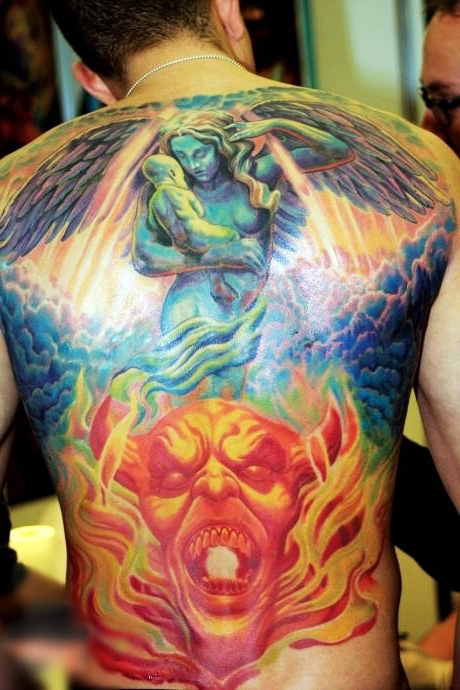heaven and hell religious tattoo on back best tattoo ideas gallery. Black Bedroom Furniture Sets. Home Design Ideas