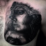 Helmet Girl Warrior Realistic tattoo by Drew Apicture