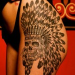 Henna Skull Indian tattoo on Hip