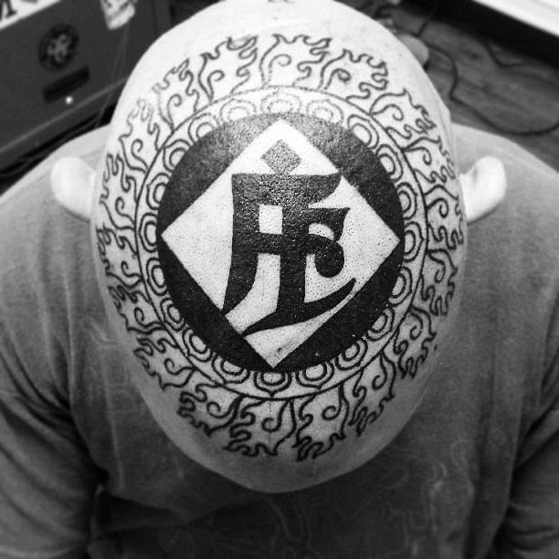 Hindu Script Head tattoo