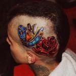 Holes in Rose New School tattoo on Head