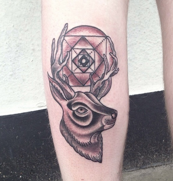 Horn Sun Stag New School tattoo by Marked For Life