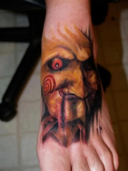 Horror Saw Mask realistic tattoo by Last Angels Tattoo