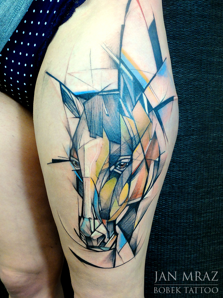 Horse Head Abstract Thigh tattoo by Jan Mràz