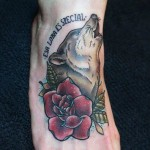 Howling Wolf Old School tattoo by White Rabbit Tattoo