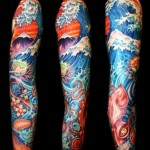 Huge Wave Mountain tattoo sleeve