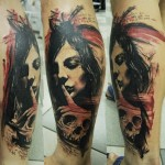 Hush Skull Trash Polka tattoo