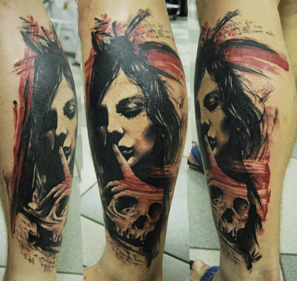 Hush Skull Trash Polka tattoo