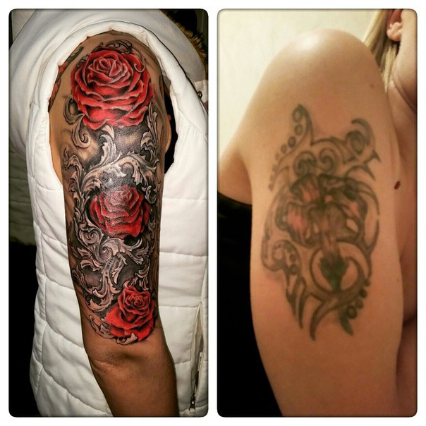 Incredible Rose Bush Cover Up tattoo design | Best Tattoo Ideas Gallery