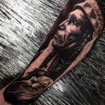 Indian Man Realistic tattoo by Drew Apicture