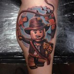 Indiana Jones Lego tattoo by The Art of London