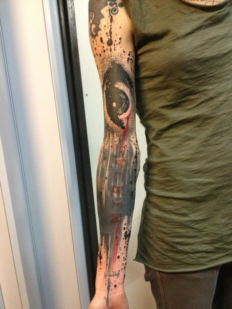 Ink Drops Eye Trash Polka tattoo sleeve