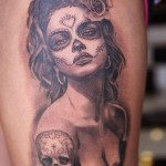 Inked Skull tattoo Chicano tattoo on Shoulder