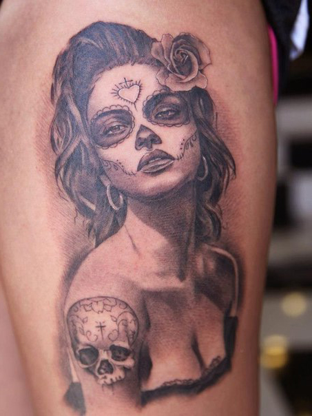 Inked Scull tattoo Chicano tattoo on Shoulder
