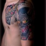 Japanese Demon Hannya Mask tattoo by Chapel tattoo