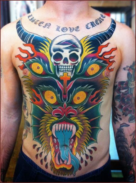 Japanese Dragon Scull tattoo by Chapel tattoo