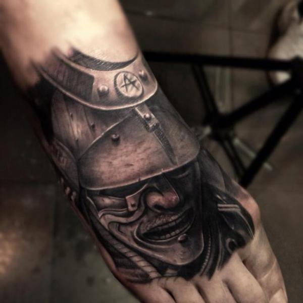 Japanese Warrior Mask Realistic tattoo by Drew Apicture