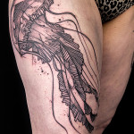 Jellyfish Dotwork tattoo by Jan Mràz