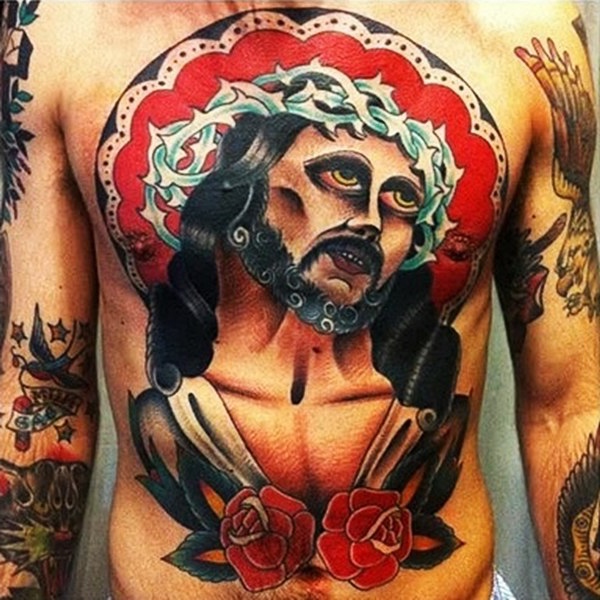 Jesus Messiah Traditional Religious tattoo