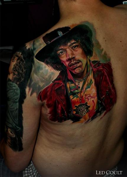 Jimi Hendrix in Hat Realistic tattoo by Led Coult