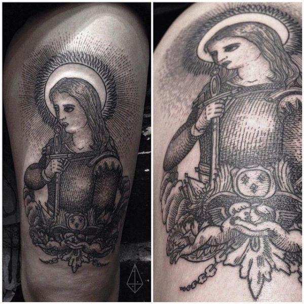 Joan of Arc Shoulder tattoo by Hidden Moon Tattoo