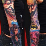 Joker Cat Woman and Harley Quinn tattoo sleeve