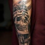 King Skull Chicano tattoo on Hand