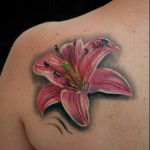 Lady Bug Pink Flower tattoo by Black Ink Studio