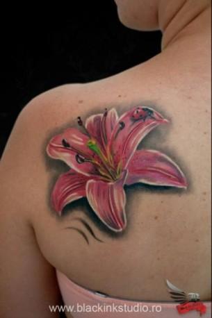 Lady Bug Pink Flower tattoo by Black Ink Studio