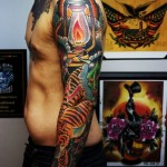 Lantern Fire and Tiger Japanese tattoo sleeve
