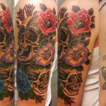 Latin Skull Cover Up tattoo design
