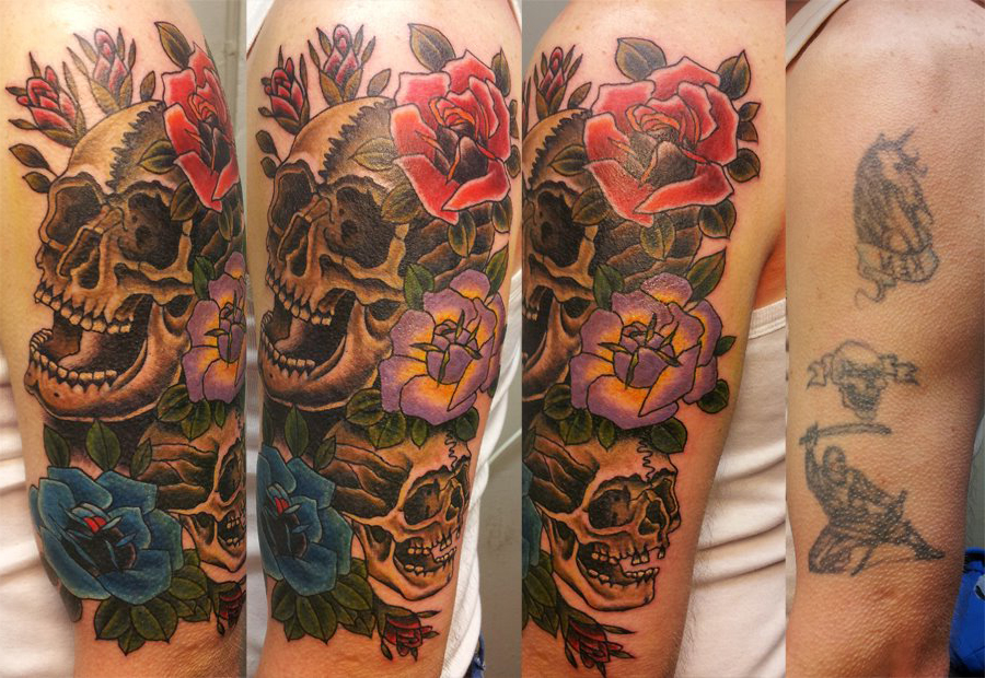 Latin Scull Cover Up tattoo design