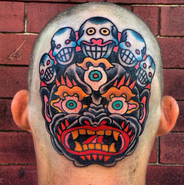 Laughting Demons Mask head tattoo design