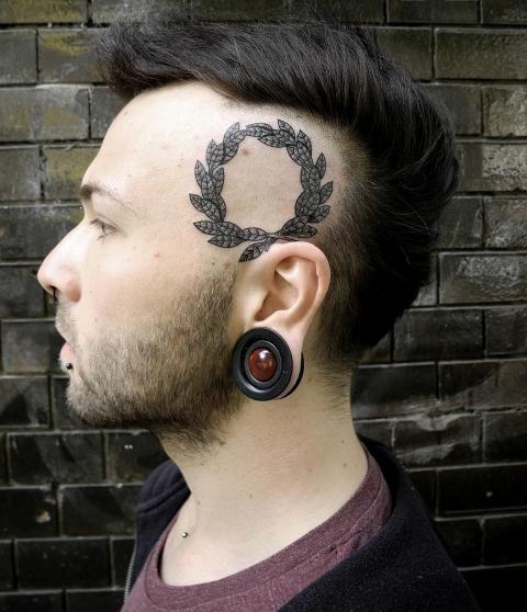 Laurel Wreath Head tattoo