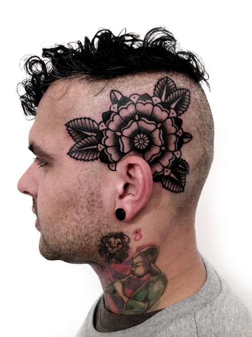 Leaves Ear Mandala head tattoo design