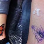 Leg Butterfly Cover Up tattoo design
