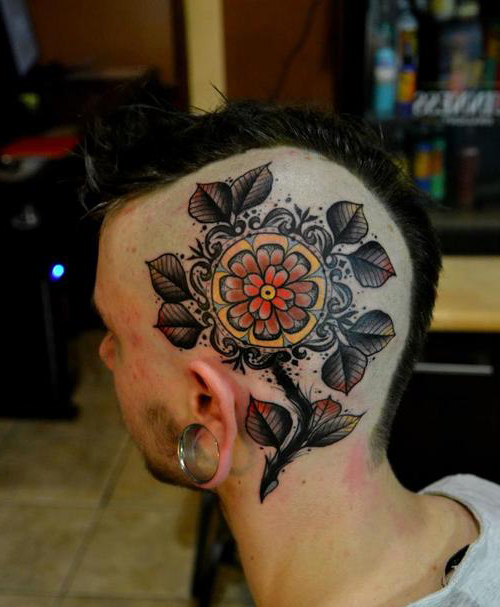Lemon Flower Head tattoo