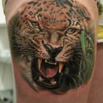 Leopard in Grass Realistic tattoo by Led Coult