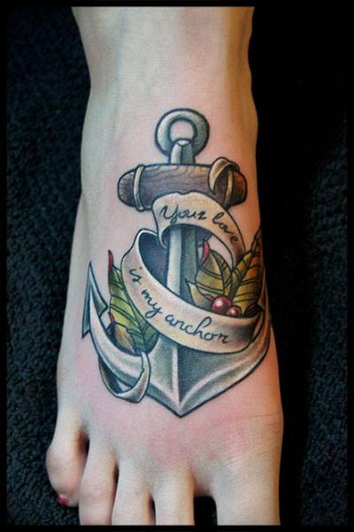 Lettering Anchor Foot tattoo by White Rabbit Tattoo