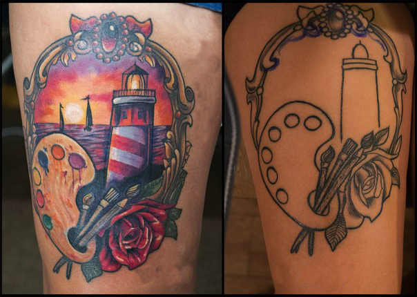 Lighthouse Cover Up tattoo design | Best Tattoo Ideas Gallery