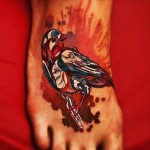 Little Sparrow New School tattoo on Foot