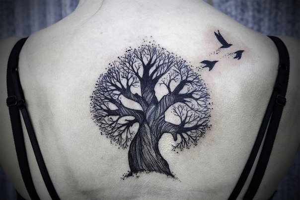 Lonely Oak Graphic tattoo idea on Back