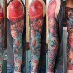 Loosing Strength Sun Solar System tattoo sleeve