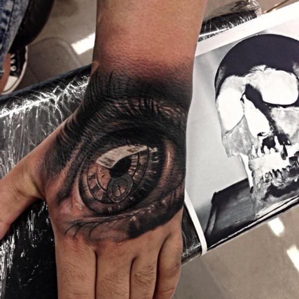 Macro Eye Clock Realistic tattoo