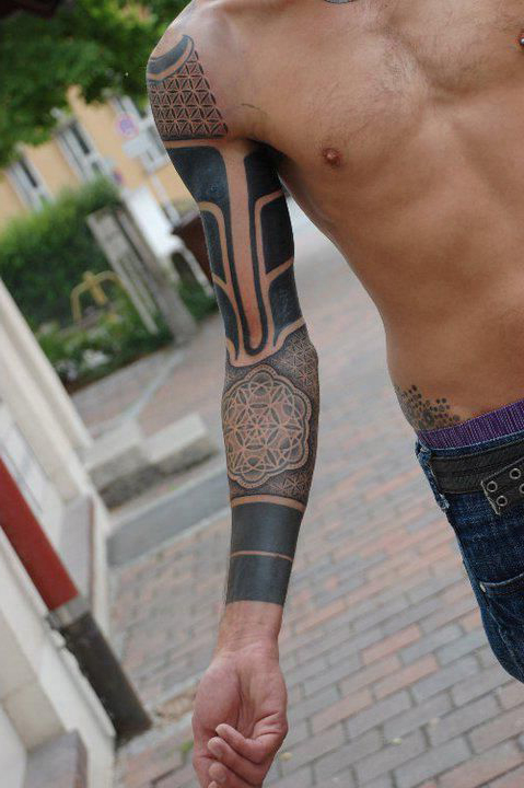 Mandala Blackwork tattoo Sleeve