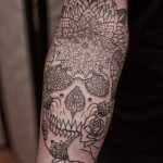 Mandala Skull tattoo on Hand