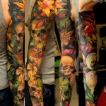 Many Flowers and Many Skulls tattoo sleeve