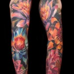 Many Lotus Flowers tattoo sleeve