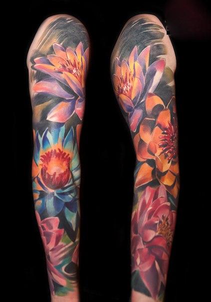 Many Lotus Flowers tattoo sleeve